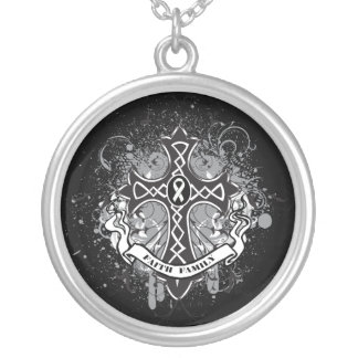 Lung Cancer - Faith Family Prayer Cross Round Pendant Necklace