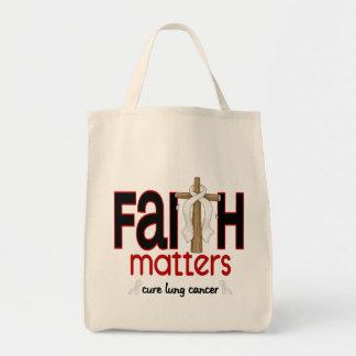 Lung Cancer Faith Matters Cross 1 Canvas Bags