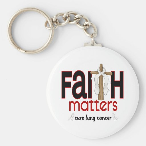 Lung Cancer Faith Matters Cross 1 Basic Round Button Keychain