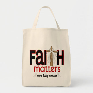 Lung Cancer Faith Matters Cross 1 Grocery Tote Bag