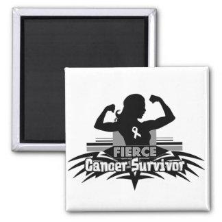 Lung Cancer Fierce Cancer Survivor Refrigerator Magnet