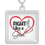 Lung Cancer Fight Like a Girl Heart Necklaces