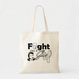 Lung Cancer Fight Like A Girl - Retro Girl Budget Tote Bag