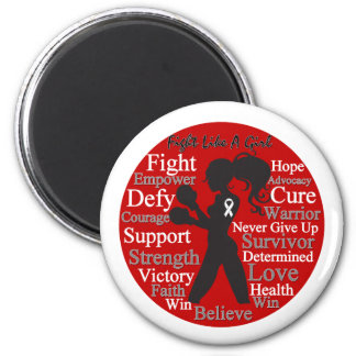 Lung Cancer Fight Like A Girl Warrior Collage Fridge Magnet