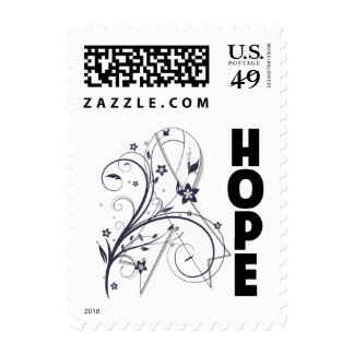Lung Cancer Floral Hope Ribbon Postage Stamps