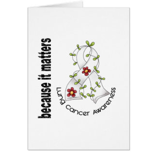 Lung Cancer Flower Ribbon 3 Card