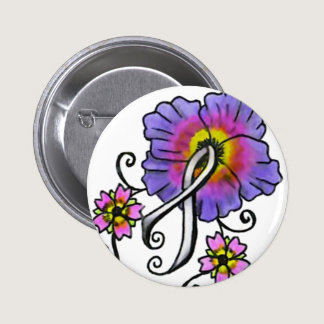 Lung Cancer Flowers Button