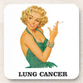 lung cancer girl beverage coaster