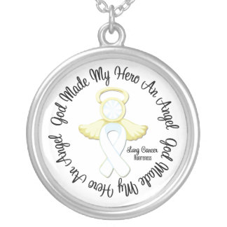 Lung Cancer God Made My Hero An Angel Round Pendant Necklace
