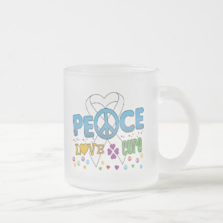 Lung Cancer Groovy Peace Love Cure 10 Oz Frosted Glass Coffee Mug