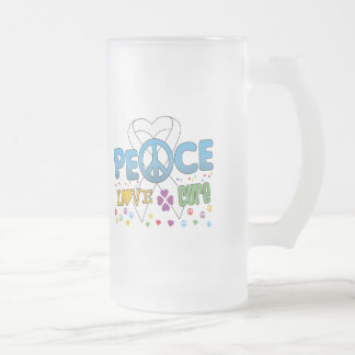 Lung Cancer Groovy Peace Love Cure 16 Oz Frosted Glass Beer Mug