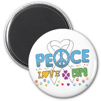 Lung Cancer Groovy Peace Love Cure 2 Inch Round Magnet
