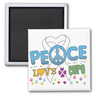 Lung Cancer Groovy Peace Love Cure 2 Inch Square Magnet