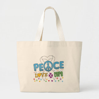 Lung Cancer Groovy Peace Love Cure Jumbo Tote Bag