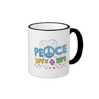 Lung Cancer Groovy Peace Love Cure Ringer Coffee Mug
