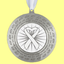 Lung Cancer Heart Ribbon Round Pewter Ornament