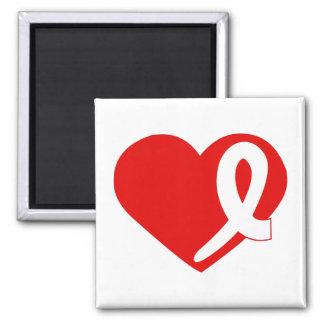 Lung Cancer Heart White ribbon square magnet