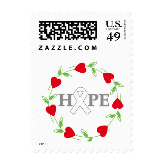 Lung Cancer Hearts of Hope Postage