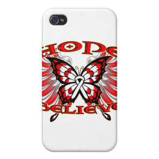 Lung Cancer Hope Believe Butterfly iPhone 4 Covers