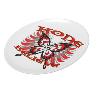 Lung Cancer Hope Believe Butterfly Party Plate