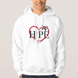 Lung Cancer Hope Butterfly Heart Décor Hooded Sweatshirt