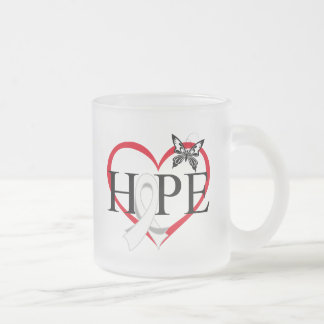 Lung Cancer Hope Butterfly Heart Décor 10 Oz Frosted Glass Coffee Mug