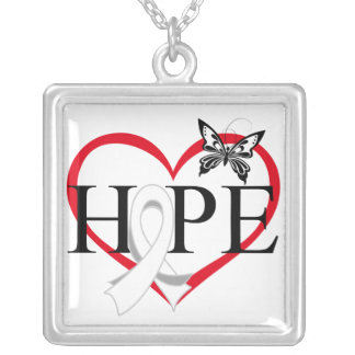 Lung Cancer Hope Butterfly Heart Décor Square Pendant Necklace