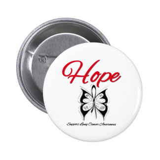 Lung Cancer Hope Butterfly Ribbon Button
