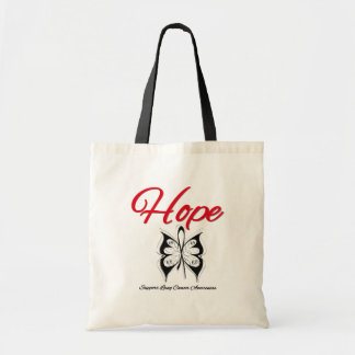 Lung Cancer Hope Butterfly Ribbon Canvas Bags