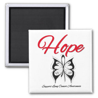 Lung Cancer Hope Butterfly Ribbon Refrigerator Magnet