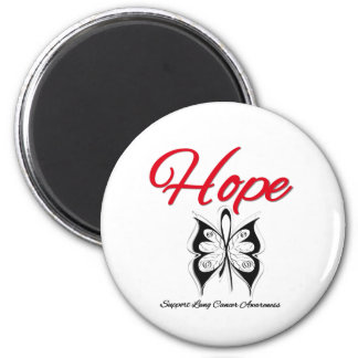 Lung Cancer Hope Butterfly Ribbon Magnets