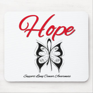 Lung Cancer Hope Butterfly Ribbon Mouse Pad