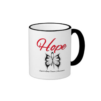 Lung Cancer Hope Butterfly Ribbon Mugs