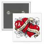 Lung Cancer Hope Faith Dual Hearts 2 Inch Square Button