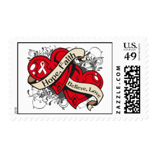 Lung Cancer Hope Faith Dual Hearts Postage Stamp