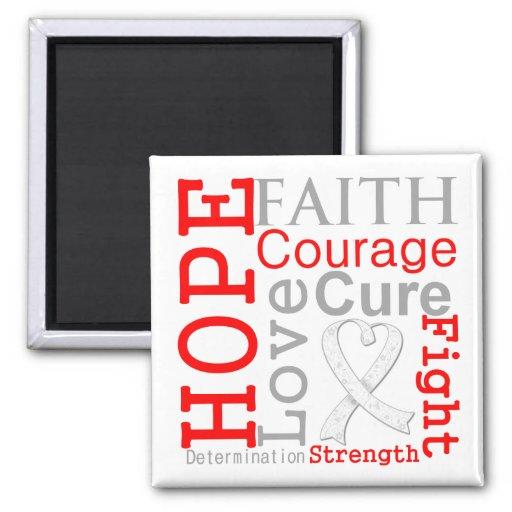 Lung Cancer Hope Faith Motto Fridge Magnet