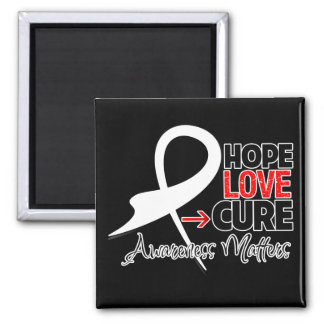 Lung Cancer Hope Love Cure 2 Inch Square Magnet