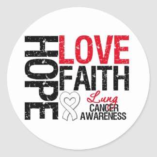 Lung Cancer Hope Love Faith Round Stickers