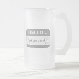 Lung Cancer I Fight Like a Girl 16 Oz Frosted Glass Beer Mug