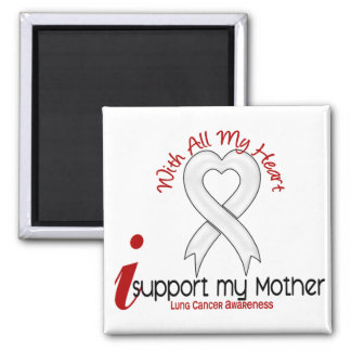Lung Cancer I Support My Mother 2 Inch Square Magnet