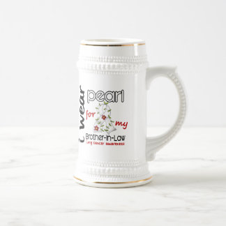 Lung Cancer I Wear Pearl For My Brother-In-Law 43 Beer Stein