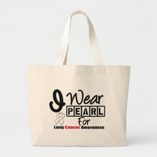 Lung Cancer I Wear Pearl Ribbon For Awareness Tote Bags
