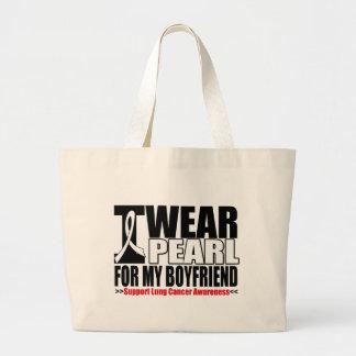 Lung Cancer I Wear Pearl Ribbon For My Boyfriend Canvas Bag