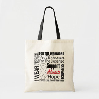 Lung Cancer I Wear Pearl Ribbon TRIBUTE Canvas Bags