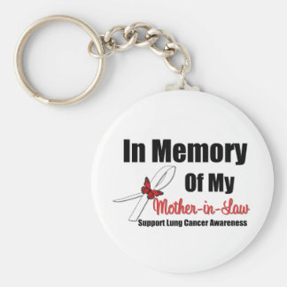 Lung Cancer In Memory Mother-in-Law Basic Round Button Keychain