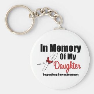 Lung Cancer In Memory of My Daughter Basic Round Button Keychain
