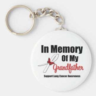 Lung Cancer In Memory of My Grandfather Basic Round Button Keychain