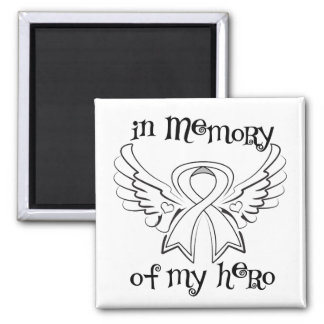 Lung Cancer In Memory of My Hero 2 Inch Square Magnet