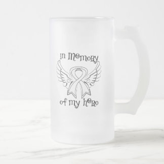 Lung Cancer In Memory of My Hero 16 Oz Frosted Glass Beer Mug