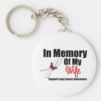 Lung Cancer In Memory of My Wife Basic Round Button Keychain